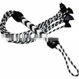 HMB-513A LEATHER 9 O CAT BRAIDS TAILS FLOGGER BLACK WHITE BULLWHIPS
