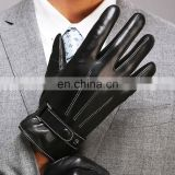 Top Quality 100% Genuine Cowhide Analine Leather Mens Driving Gloves with Button