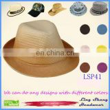 LSP41 Beautiful Orange Gradual Change 100% Paper Straw Hat