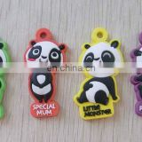 Cute cartoon China panda pvc rubber zipper puller head