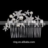 Trendy Starfish Rhinestone Crystals Hair Combs Pearl Jewelry Women Hairpins Bridal Wedding Hair Accessories