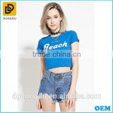 Sexy round collar blue t shirt for hot gilrs from Alibaba clothes factory