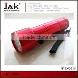 9 LED flashlight aluminium flashlight with laser torch red color