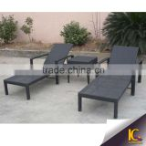 Outdoor plastic sun lounger black waterproof rattan beach seats chairs aluminium armchair