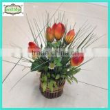 18cm 7heads silk tulip artificial plant bonsai with bamboo pot