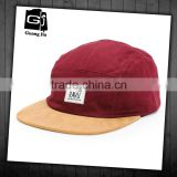 High quality label patch sude bill hat custom leather & metal buckle wholesale 5 panel hats
