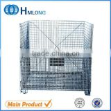 Folding industrial wire mesh box pallets stacking container