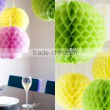 Assorted color 10 inch hanging paper honeycomb ball for kid's birthday party decoration
