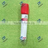 Labeled disposable plastic blood collection tube with red cap