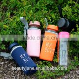 bpa free custom sport glass water bottle with silicone sleeve private label insulated water bottle New Products 2015