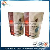 Flexible Packaging Companies Brown Kraft Paper Resealable Stand Up Packaging Bag For Coconut Powder