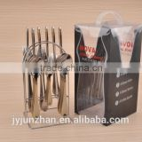 24pcs Gold plated flatware with shelf and PVC box made by stainless steel and competitve price