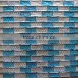 Hot sale white and blue rectangle glass mosaic for floor and wall tile