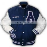 Varsity/Letterman/College Jacket Blue/White made of Melton wool body with Leather Sleeves