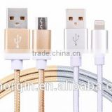 High speed best selling products nylon type C usb date cable for android and iphone