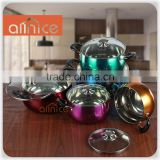 10pcs stainless steel hot pot casserole set with glass lid and size16/18/20/22/24cm