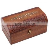 Store Indya Chest Style Fine Rosewood Jewelry Box Organizer with Floral Hand Carvings & Velvet Interior, 9 x 5.5 inches