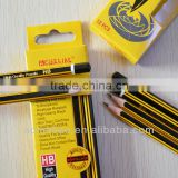 "7"" standard size hexagonal shape black and yellow striped graphite HB pencil sharpened with dipped end"