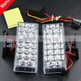 12V 22 LED DIY Motorcycle Burst Flashing Warning light Emergency Lamp/square/Red,White,Blue