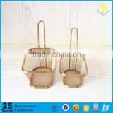 Trade Assurance golden plated stainless steel mini food presentation basket, mini non-stick fry basket