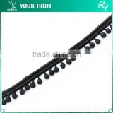 Width 1.2 Centimeter Black Dot Tassel Strip Cotton Trimming Lace