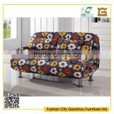 Rural style flower sofa cum bed fabric fold out sofa bed with arms for home furniture