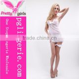 Sexy Hot Babydoll Sleepwear Lingerie White Silk Transparent Sexy Sleepwear