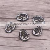 Hematite Stone Spacer Beads, Crystal Rhinestone Paved Skull Gem stone Druzy Connector Beads For Jewelry Making