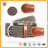 Polyester Material Leather Tab Braided Wait Belts Fashion Elastic Waist Belts Woven Waist Belts for Unisex