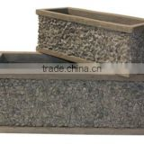 Light Concrete Planter with Stone, Set of 3.