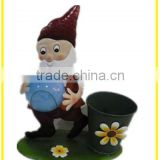 Christmas Sales Wholesale Outdoor Garden Gnome Drwaf Solar Light with planter Decoration for Christmas Festival