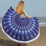 China manufacture custom microfiber round beach towel with tassels