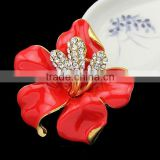 2016 red enamel flower pin high end dress flower brooch big flower bouquet for wedding accessories