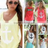 2015 Anchor Tank Tops Graphic Tee Women Back Bow Sleeveless shirt Summer Style Debardeur Woman anchor vest