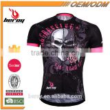 BEROY 100 polyester skull pattern cycling jersey short sleeve,high quality bicycle sweat shirt