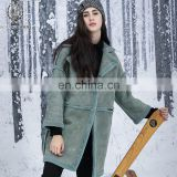 Cool Style Suede Sheepskin Ski Suit Ladies Sheep Fur Leather Coat Winter Double Face Fur Garment