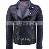 NEW MEN'S GENUINE LAMBSKIN STYLISH MOTORCYCLE BIKER LEATHER JACKET DARK BLUE