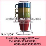 STackable Colored Porcelain Promotion Cup with Rack for Folding Drinking Cup Not Double Wall Cup
