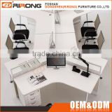 Modern office furniture white 3 person 120 degree office workstation with file cabinets