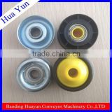 gravity conveyor parts spring loaded steel zinc plated conveyor roller with plastic conveyor roller end caps