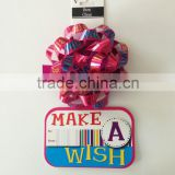 Birthday party ribbon bow with colours printing on Greeting card for celebration birthday party