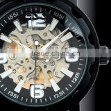 Brand Men's Black Luxury Stainless Steel Skeleton Semi-Automatic Leather Mechanical Watch WM221-ESS
