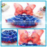 wholesale boutique American July Fourth kid tutu dress wing set royal blue and red ribbon tutus US Independence Day girls skirts