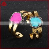 Wholesale gorgeous raw turquoise bangles, 18k gold electroplated adjustable hammer bracelet jewelry