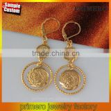 Wholesale Coin Money 24k Gold Plated Muslim Jewelry Islamic Gold Earring