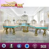 led golden frame half moon banquet table half round MDF white hotel dining table