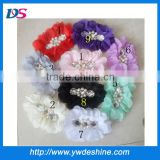 2013 New design wholesale DIY handmade Cloth flower fabric flower chiffon pearl diamond flowers by hand H-255
