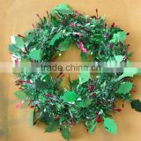 30cm plastic garland leaves Christmas wreath hanging decoration