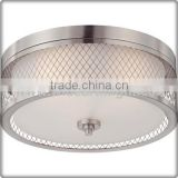 UL CUL Listed Brushed Nickel Round Hotel Glass Ceiling Light With Metal Wire Shade C81390
