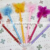 Plush butterfly ball pens dot plastic stationery promotional ballpoint pens